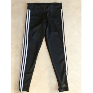 Adidas Leggings Sz Medium Solid Black White Three